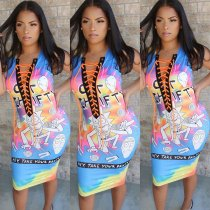 Cartoon Print Lace Up Sleeveless Bodycon Midi Dress PN-6195