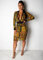 Retro Print Deep V Neck Mesh Full Sleeve Midi Dress SHD-9138