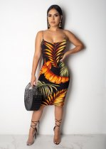 Sexy Printed 2pcs Long Cardiagn Spaghetti Straps Midi Dress JH-108
