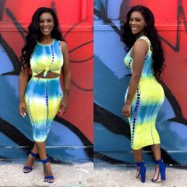 Tie Dye Print Sleeveless Bodycon Midi Dresses FNN-8254