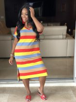 Colorful Striped V Neck Short Sleeve Side Split Midi Dresses WSM-5092