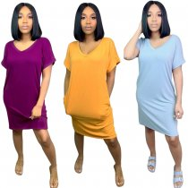 Solid V Neck Short Sleeve Casual Loose Midi Dress MIL-015
