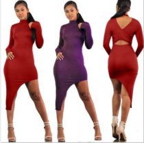 Sexy Long Sleeve O Neck Irregular Bodycon Midi Dress DM-8003