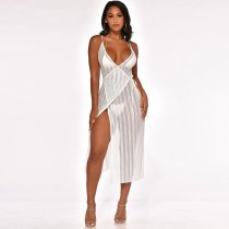 White Sexy V Neck Spaghetti Strap See Through Midi Dress SH-3608