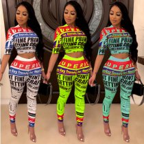 Plus Size Letter Print Half Sleeve Two Piece Pants Set ARM-8111-1