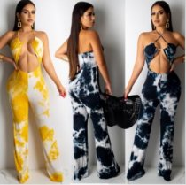 Sexy Printed Cut Out Halter Backless Long Jumpsuits SHA-6080