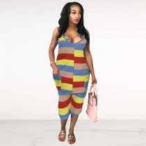 Colorful Striped Spaghetti Strap Calf Length Jumpsuits FNN-8269