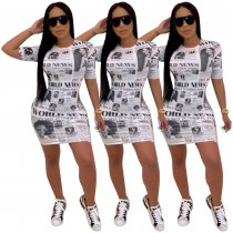Newspaper Print Short Sleeve Casual Mini Dresses SHD-9153
