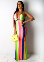 Sexy Striped Cut Out Halter BacklessSlim Maxi Dresses DAI-8167