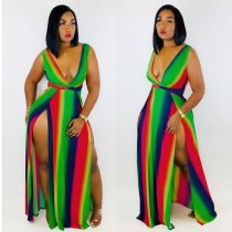 Colorful Sripes Sleeveless High Split Long Maxi Dress DAI-8165