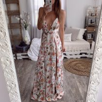 Floral Print Deep V Spaghetti Strap Backless High Split Maxi Dress OMF-5002