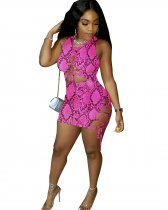 Snake Skin Print Sleeveless Lace Up Mini Bandage Dresses YN-9093