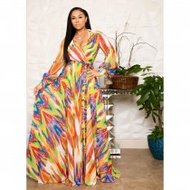 Printed Deep V Long Sleeve Big Swing Sashes Maxi Dress OMR-9573