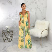 Sexy Printed V Neck Strappy Sleeveless Jumpsuits SMR9306