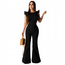 Black Sexy Ruffles Backless Flares Jumpsuits SHD-9149