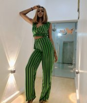 Striped V Neck Sleeveless Two Piece Pants Sets AWN-5001