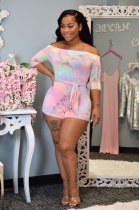Tie Dye Print Slash Neck Half Sleeve Bodycon Rompers SFY-049