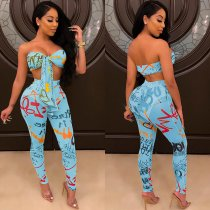 Sexy Tie Up Crop Top Long Pants Bodycon 2 Piece Sets NY-8822