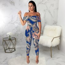 Floral Print Slash Neck Sashes One Piece Jumpsuits SMR9311
