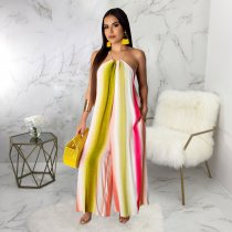 Striped Off Shoulder Strappy Loose Wide Leg Jumpsuits SMR9297-1