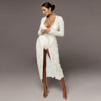 Sexy Lace Long Cardigan+Bodysuit Two Piece Suit YF-9396