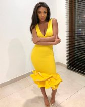 Yellow Ruffles V Neck Sleeveless Bodycon Midi Dresses BGN-009
