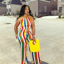 Colorful Striped Strppy Sleeveless Wide Leg Jumpsuits HZM-889
