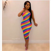 Colorful Striped Strapless Bodycon Midi Dresses YIY-5028