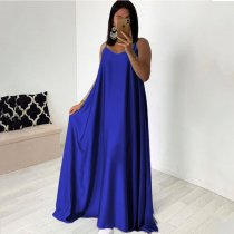 Blue Sexy Spaghetti Strap Sleeveless Big Swing Maxi Dress YF-9373
