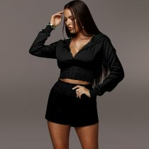 Casual Hooded Long Sleeve Zipper Two Piece Shorts Set YF-9397