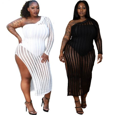 Plus Size One Shoulder Stripe See Though Split Long Dress YIF-1028