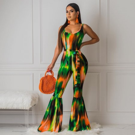 Sexy Printed Sleeveless Sashes Flares Long Jumpsuit HMS-5242