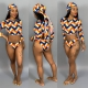 Colored Wave Stripe Long Sleeve 2pcs Bikinis Set LDS-3096