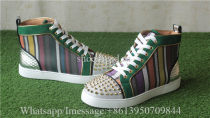 Christian Louboutin Spike Flat High Top Sneaker Colorful