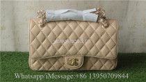 Chanel Beige Quilted Caviar Medium Classic Double Flap Bag