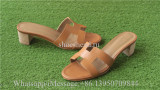 Hermes Gold Calfskin Leather Oasis Sandals