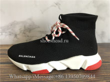 Balenciaga Lace-Up Knit Sock Speed Trainer Black Red White