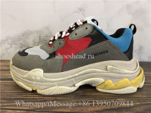 Balenciaga Fall Winter Washed Old Show Triple-S Sneaker Grey Red Blue
