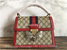 Original Gucci Red Queen Margaret Crystal Embellished Bee Clasp Tote Bag