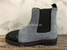 Christian Louboutin Spike High Boots Grey Suede