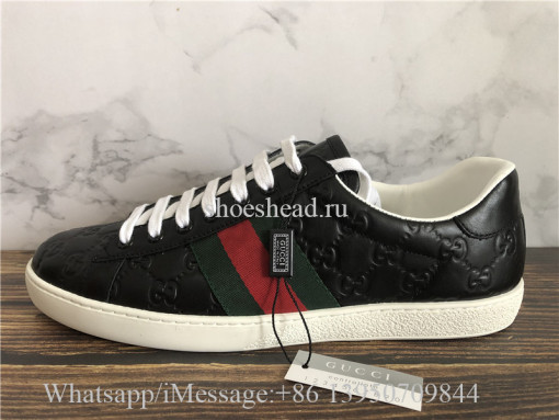 Gucci Ace Embroidered Sneaker Low Black With logo Pattern