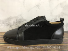 Christian Louboutin Flat Low Top Black Suede Leather