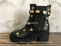 Gucci Black Leather Embroidered Ankle Boot With Belt