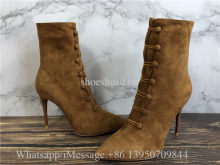 Christian Louboutin French Tutu 85 Suede Ankle Boots Tan