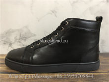 Christian Louboutin Flat High Top Sneaker Black Leather