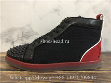 Christian Louboutin Spike Flat High Top Sneaker Black Red