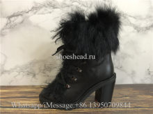 Christian Louboutin Fur Ankle Boots Black Leather