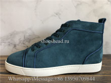 Christian Louboutin Flat High Top Sneaker Blue Suede