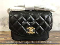 Original Chanel Lambskin Black Small Shoulder Bag 19cm