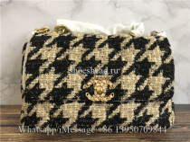 Original Chanel 19 Maxi Flap Bag Tweed Beige & Black